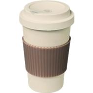 Kaffeebecher to go MONTARGIS, 80 % Bambusfaser, verschließbar, 350 ml, Tampondruck 1-seitig 35 x 20 mm