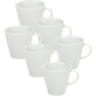 Kaffeetasse Solea, uni, weiß, Porzellan, 6 Stück