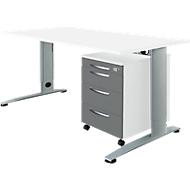 Kantoormeubelset 2-dlg LOGIN C-poot bureautafel, B 1600 mm + verrijdbaar ladeblok, 3 schuifladen, materiaallade, Centrale vergrendeling, wit grafiet