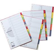 Kartonnen gekleurde tabbladen, met dekblad, A4, 5 delig (5 kleuren)