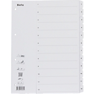 Kartonregister mit Fahnenstanzung 1-12