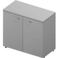 Kast ARLON OFFICE, 2 ordnerhoogten, afsluitbaar, B 900 x D 450 x H 816 mm, lichtgrijs/aluminium