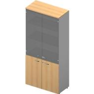 Kast ARLON OFFICE, 5 ordnerhoogten, 2 glazen deuren, 2 melaminedeuren, H 2000 mm, beukenpatroon/aluminium