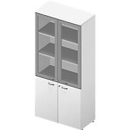 Kast ARLON OFFICE, 5 ordnerhoogten, 2 glazen deuren met frame, 2 melaminedeuren, H 2000 mm, wit/wit