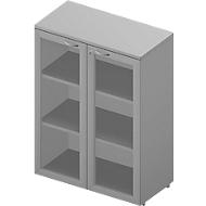 Kast met glazen deuren ARLON OFFICE, 3 ordnerhoogten, deuren met frame, B 900 mm, lichtgrijs/aluminium