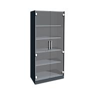 Kast met glazen deuren ASISTO C 3000, 5 ordnerhoogten, B 800 mm, antraciet/helder glas