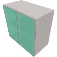 Kast met glazen deuren SOLUS PLAY, 2 ordnerhoogten, zonder handgreep, gesatineerd, B 800 x D 440 x H 748 mm, ceramic grey