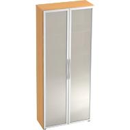Kast met glazen deuren TARA, 5 ordnerhoogten, B 800 x D 346 x H 1880 mm, beukenpatroon