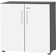 Kast SET UP, 2 ordnerhoogten, afsluitbaar, B 800 x D 420 x H 744 mm, grafiet/wit
