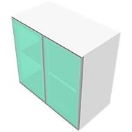 Kast SOLUS, glazen deuren, gesatineerd, 2 ordnerhoogten, H 760 x B 800 x D 440 mm, wit