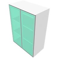 Kast SOLUS, glazen deuren, gesatineerd, 3 ordnerhoogten, H 1123 x B 800 x D 440 mm, wit