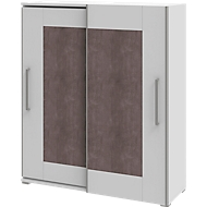 Kast TEQSTYLE, 3 ordnerhoogten, B 1600 mm, 2-deurs met frame vooraan, 3 open vakken in ordnerhoogte, 1 open vak in CD-hoogte, wit/kwartsiet