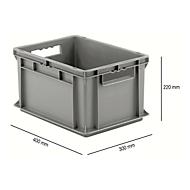 Kasten im EURO-Maß EF 4220, L 400 x B 300 x H 220 mm, Inhalt 20,4 l,  Tragkraft 15 kg, stapelbar, Polypropylen, grau
