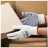 Katoenen gebreide handschoen Cappella 7, naadloos gebreid, Vinyl noppen, 12 paar, m. S
