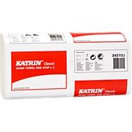 KATRIN FHT Classic One Stop L2 Falthandtücher, weiß, W-Falz, 2-lagig, 2 x 22 g/m², 235 x 340 mm, aut. Einzelausgabe, 2310 Stück