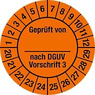 Keuringsvignet, gekeurd door, volgens DGUV voorschrift 3 (2020-2029)