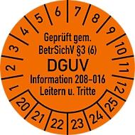 Keuringsvignet, gekeurd volgens BetrSichV °3 (6) DGUV Information 208-016 ladders + opstapjes (2020-2025)