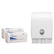 Kimberly-Clark® Scott, 2-lagig, Zick-Zack, 7200 Tücher + AQUARIUS Handtuchspender SET