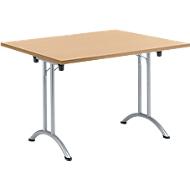 Klaptafel, 1200 x 800 mm, onderstel aluminium wit, beuken