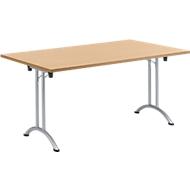 Klaptafel, 1600 x 800 mm, onderstel aluminium wit, beuken