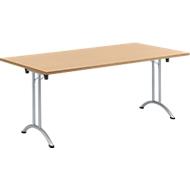 Klaptafel, 1800 x 800 mm, onderstel aluminium wit, beuken