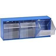 Klarsicht-Magazin MultiStore, 3 Behälter, B 601 x T 198 x 238 mm, enzianblau