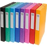 Klasseerdoos Exabox, van karton, rug 25 mm, kleur gesorteerd (geel, rood, roze, paars, blauw, turquoise, groen, zwart)