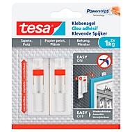 Klebenagel tesa®, für Tapete & Putz, Haftkraft bis 1 kg, höhenverstellbar, ablösbar, 2 Stück
