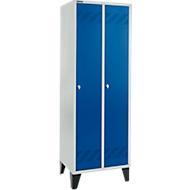 Kledinglocker, 2 compartimenten, B 630 x D 500 X H 1850 mm, met poten en draaigrendelslot, lichtgrijs/gentiaanblauw
