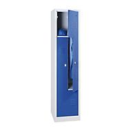 Kledinglocker, 2 compartimenten, met fitting, 2 vakken, z-deuren, Draaigrendelslot, lichtgrijs/gentiaanblauw