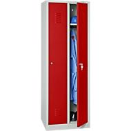 Kledinglocker, 2 deuren, B 600 x H 1800 mm, cilinderslot, lichtgrijs/vuurrood