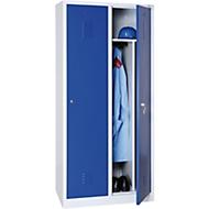 Kledinglocker, 2 deuren, B 800 x H 1800 mm cilinderslot, lichtgrijs/gentiaanblauw