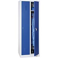 Kledinglocker, 2 deuren, cilinderslot, B 500 x H 1800 mm lichtgrijs/blauw