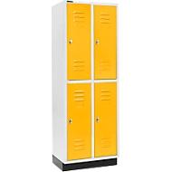Kledinglocker, 2 x 2 compartimenten, 300 mm, met fitting, draaigrendelslot, deur geel