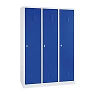 Kledinglocker, 3 deuren, B 1200 x H 1800 mm draaigrendelslot, lichtgrijs/blauw
