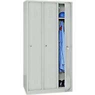 Kledinglocker, 3 deuren, cilinderslot, B 1118 x H 1800 mm lichtgrijs