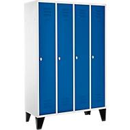 Kledinglocker, 4 compartimenten 300 mm, draaigrendelslot, met poten, deur gentiaanblauw