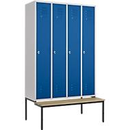 Kledinglocker, 4 compartimenten, 300 mm, draaigrendelslot, zitbank deur gentiaanblauw