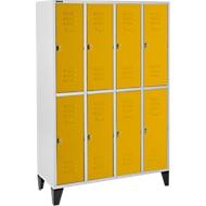 Kledinglocker, 4 x 2 compartimenten, met poten, draaigrendelslot, deur geel