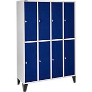 Kledinglocker, 4 x 2 compartimenten, met poten, draaigrendelslot, deur gentiaanblauw