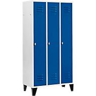 Kledinglocker met 3 compartimenten, 300 mm, draaigrendelslot, met poten, deur gentiaanblauw