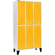 Kledinglocker, met 3 x 2 compartimenten, 300 mm, met poten, draaigrendelslot, deur geel
