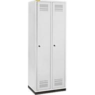 Kledinglocker met fitting, 2 compartimenten, 300 mm compartimentbreedte, cilinderslot, lichtgrijs/lichtgrijs