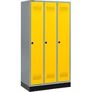 Kledinglocker met fitting, 3 compartimenten, veiligheidsdraaigrendelslot, licht zilver/geel