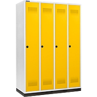 Kledinglocker met fitting, 4 compartimenten, 300 mm compartimentbreedte, draaigrendelslot, deur koolzaadgeel