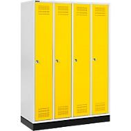Kledinglocker met fitting, 4 compartimenten, cilinderslot, lichtgrijs/geel