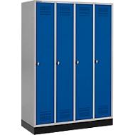 Kledinglocker met fitting, 4 compartimenten, draaigrendelslot, blank aluminium/gentiaanblauw