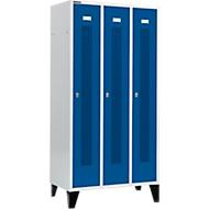 Kledinglocker, met geperforeerde rijen, 3 compartimenten, 300 mm, met poten, draaigrendelslot, deur gentiaanblauw