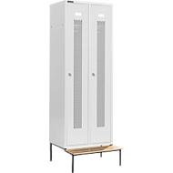 Kledinglocker, met zitbank, 2 compartimenten, 300 mm, cilinderslot, deur lichtgrijs