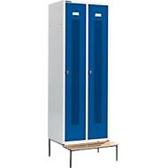 Kledinglocker, met zitbank, 2 compartimenten, 300 mm, draaigrendelslot, deur gentiaanblauw